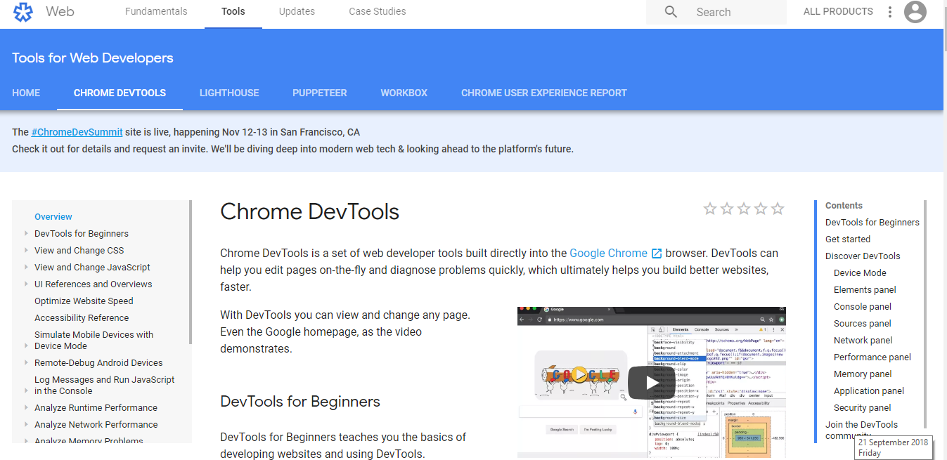 Chrome dev tools