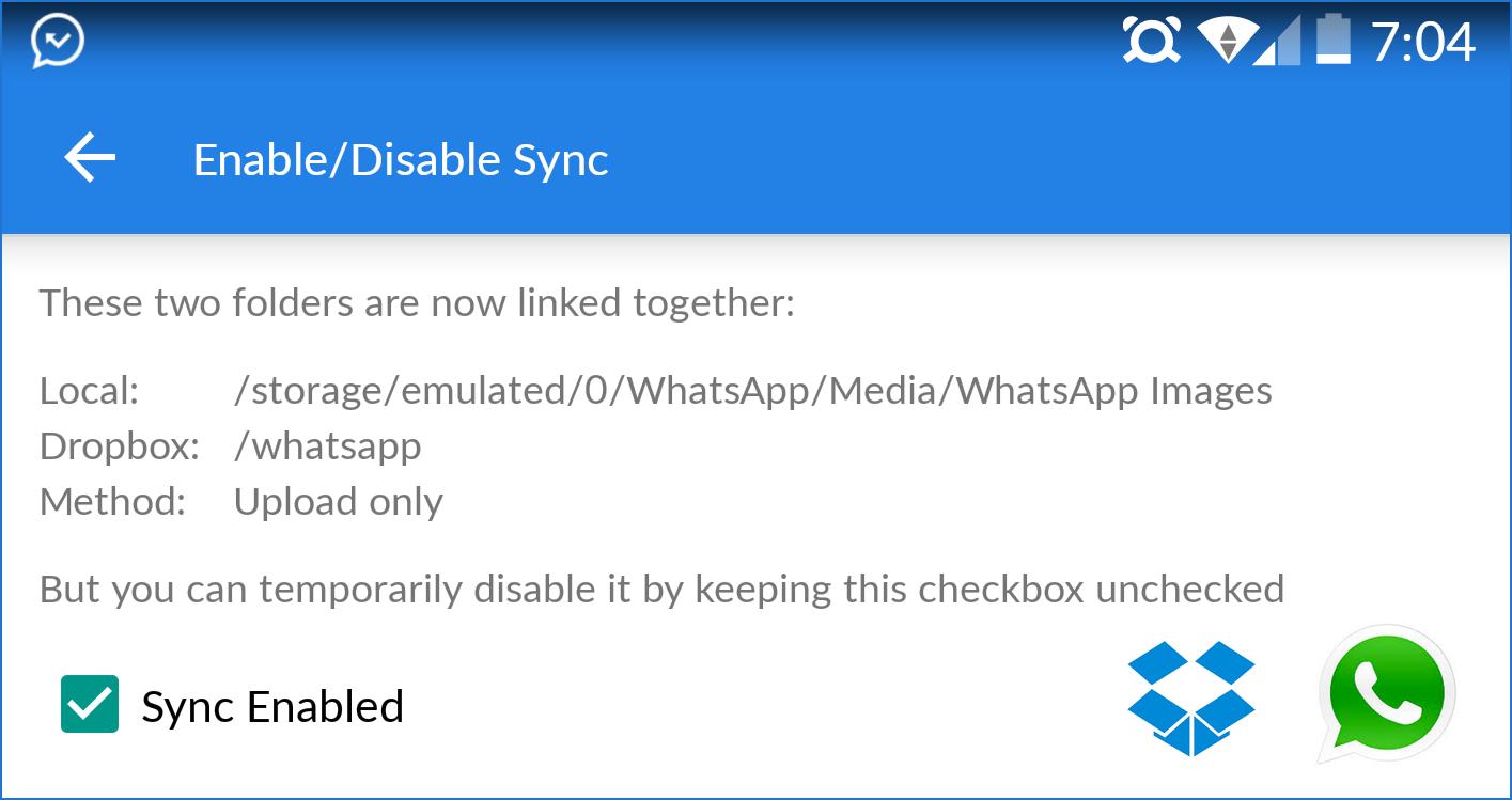 whatsapp android dropbox